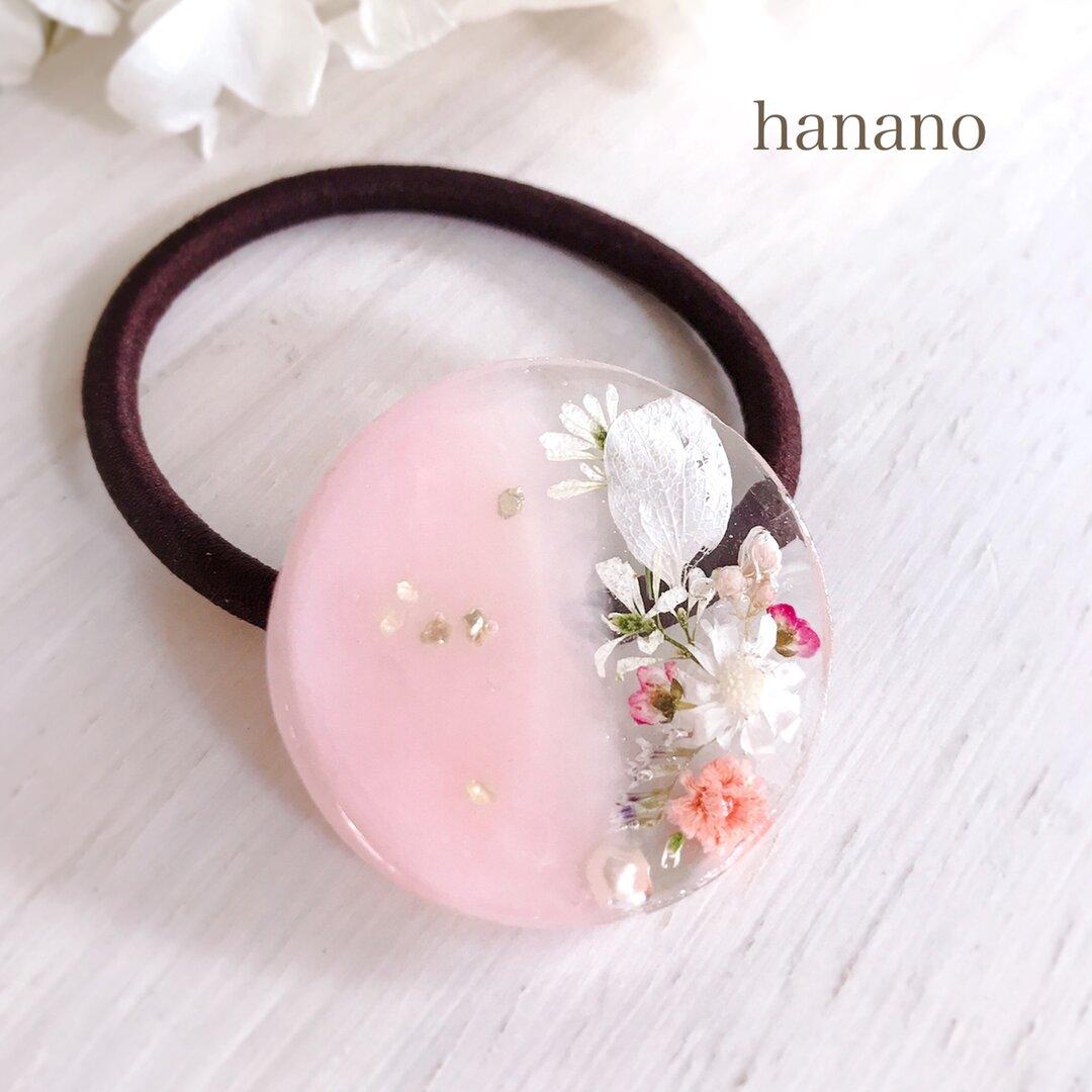 ふんわり pink ヘアゴム  ポニーフック ヘアゴム ブローチ ピンク ギフト 誕生日プレゼント バースデープレゼント 花 レジン