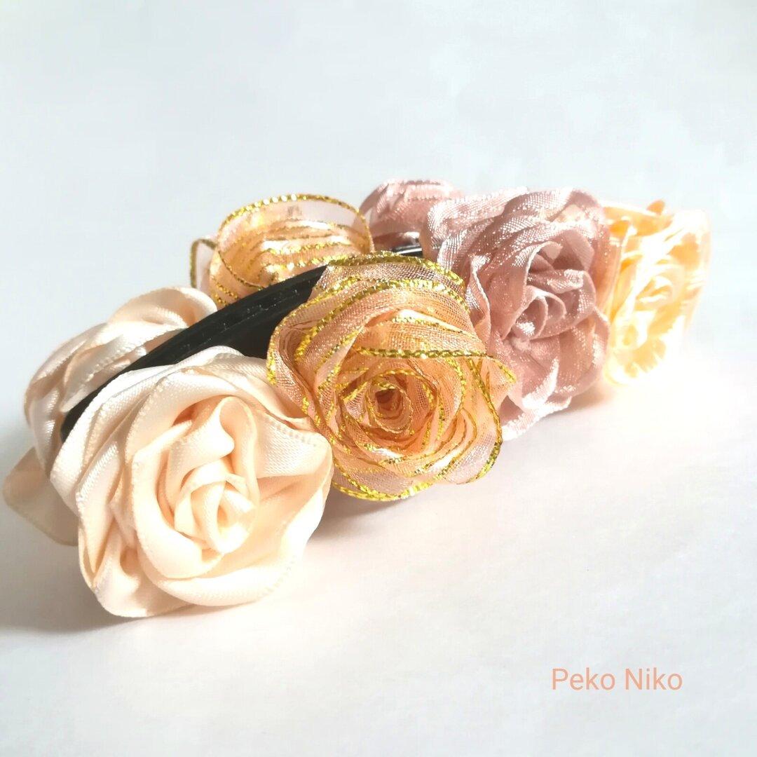ラッピング無料☆送料無料☆可憐なるリボンの薔薇 babypink バナナクリップ リボンフラワー