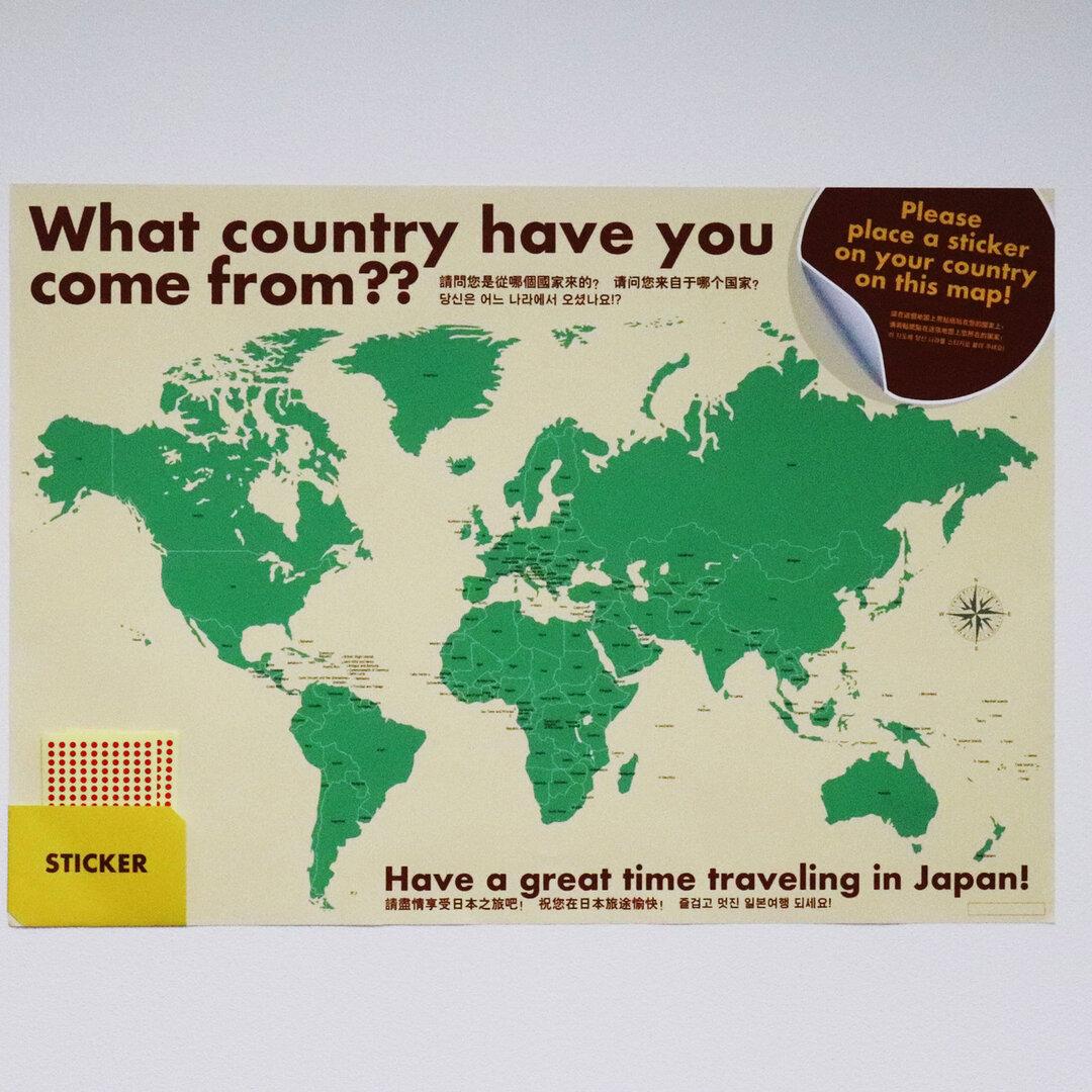 外国人のお客様歓迎ツール!「あなたはどの国から来ましたか?」シール付き世界地図ポスター 送料無料【B2サイズ】インバウンド