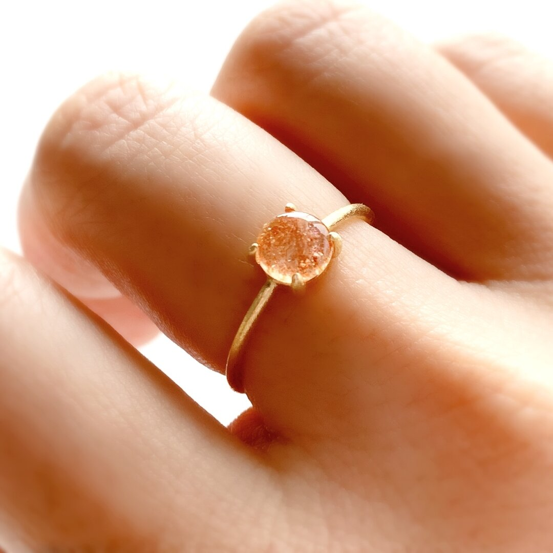 天然石 マイカサンストーン 爪留めリング 指輪 silver925  18KGP