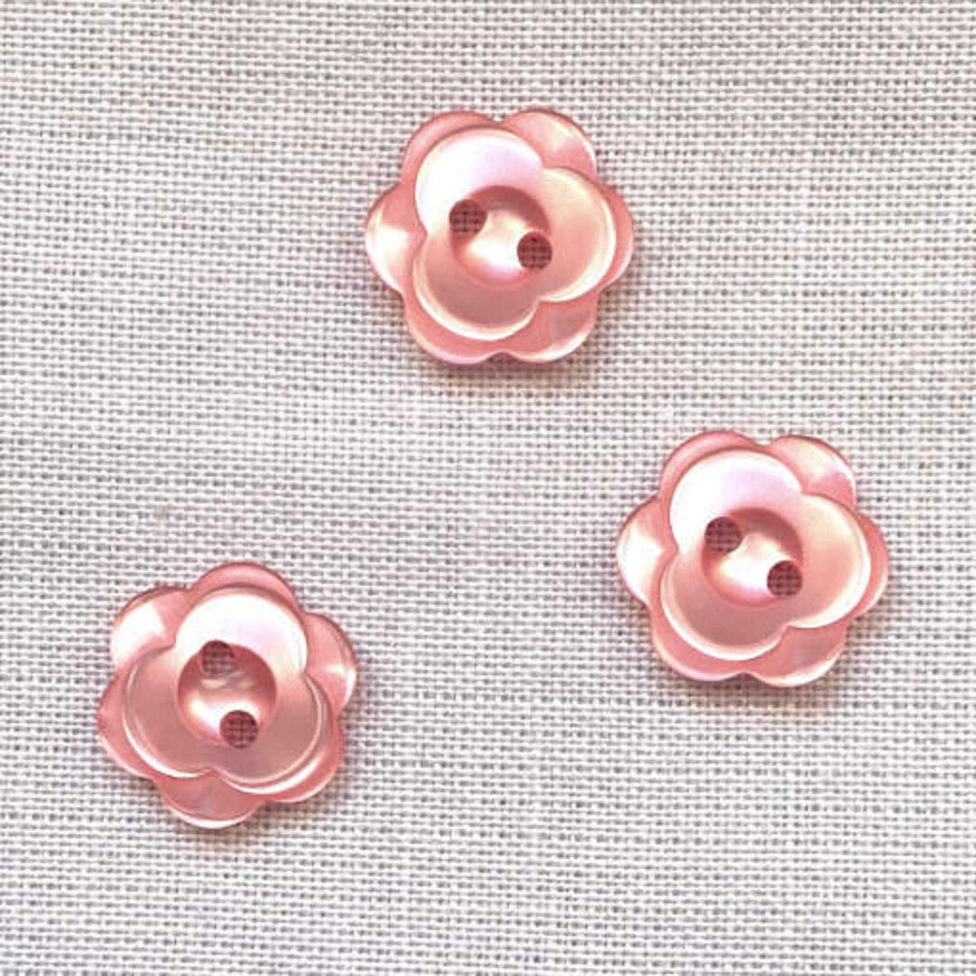 ポリエステル ボタン フラワー ピンク6個 花 バラ ローズ b-2456