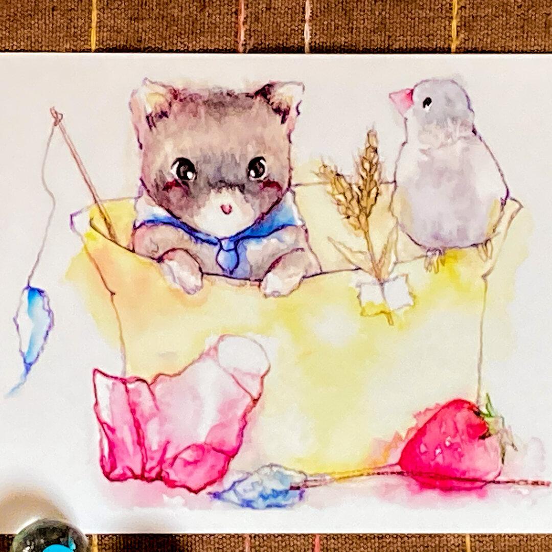 ポストカード 「お気に入り水彩 イラスト