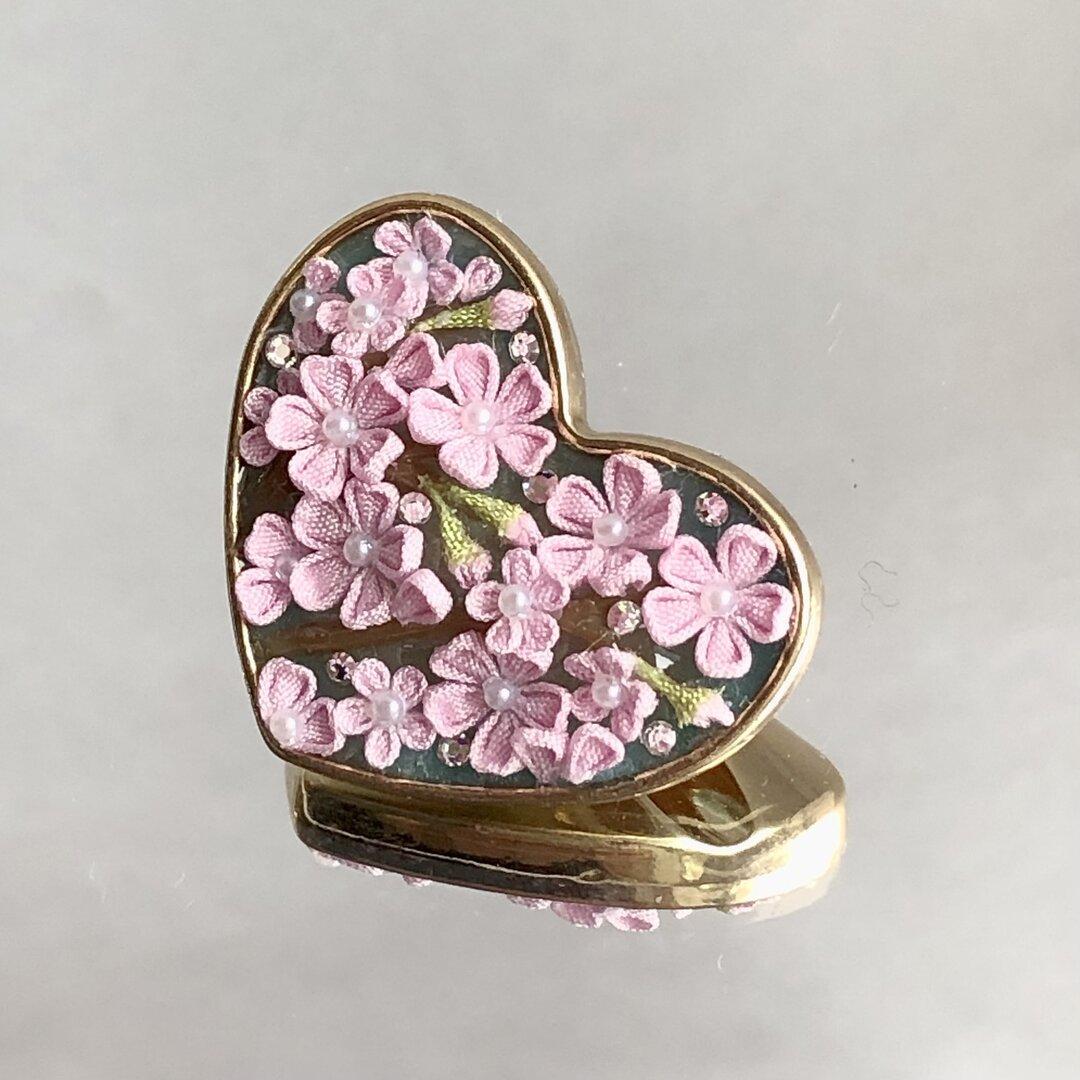 桜 ハート ヘアゴム つまみ細工 極小 春 ピンク シルバー系
