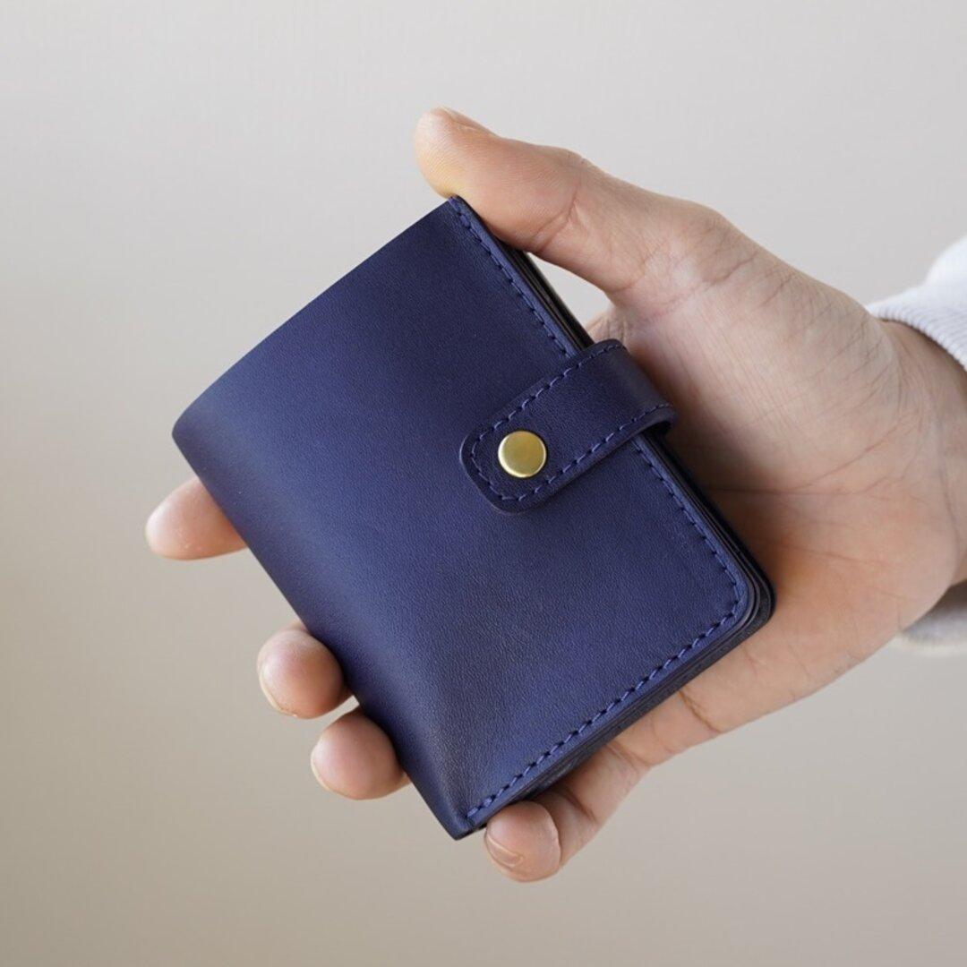 【小さいお財布  Small Wallet】 姫路レザ- 「NAVY」 / ミニ財布 小さい財布 革財布 名入れ ギフト