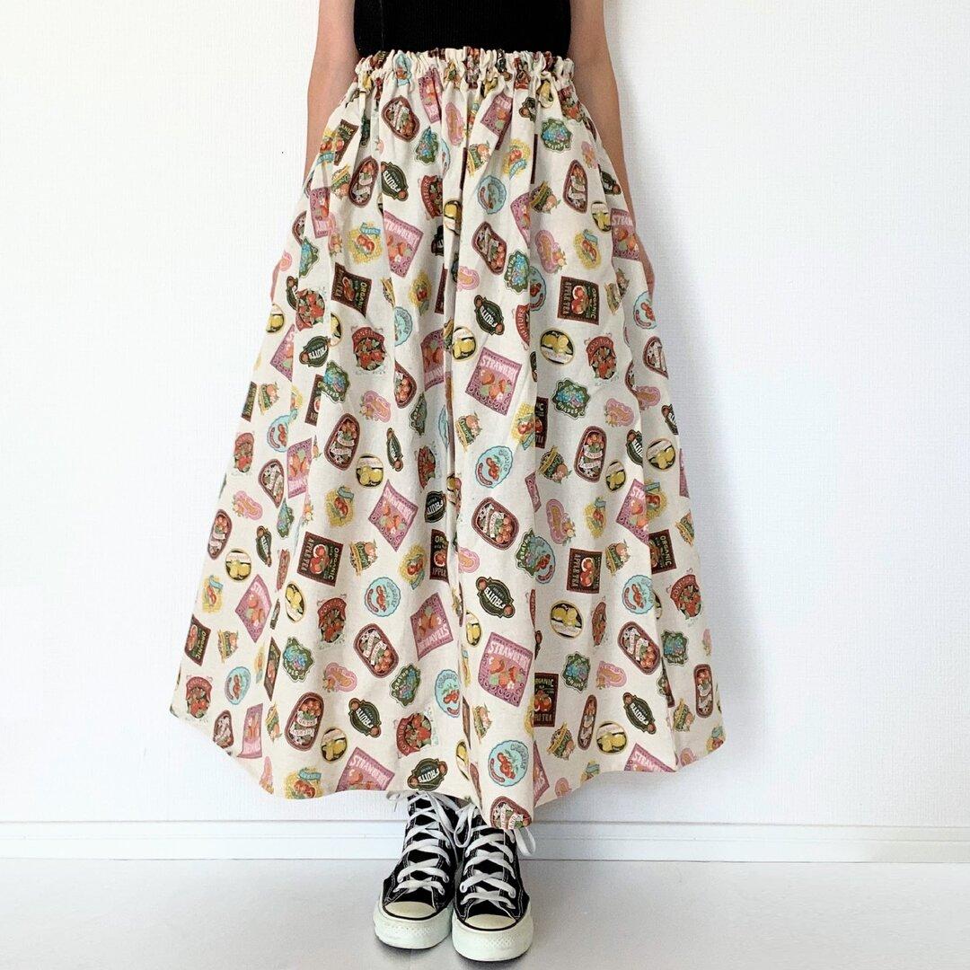 アンティークラベル柄のロングスカート*マキシ丈*フルーツ缶詰*綿麻コットンリネン*生成り