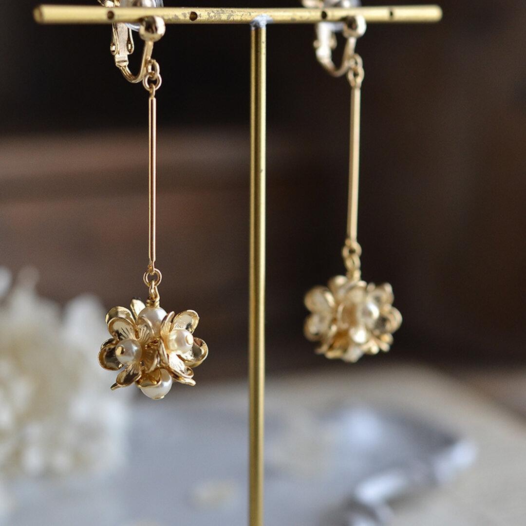 ◆フラワーブーケのイヤリング(14kgfピアスに変更可能☆)◆