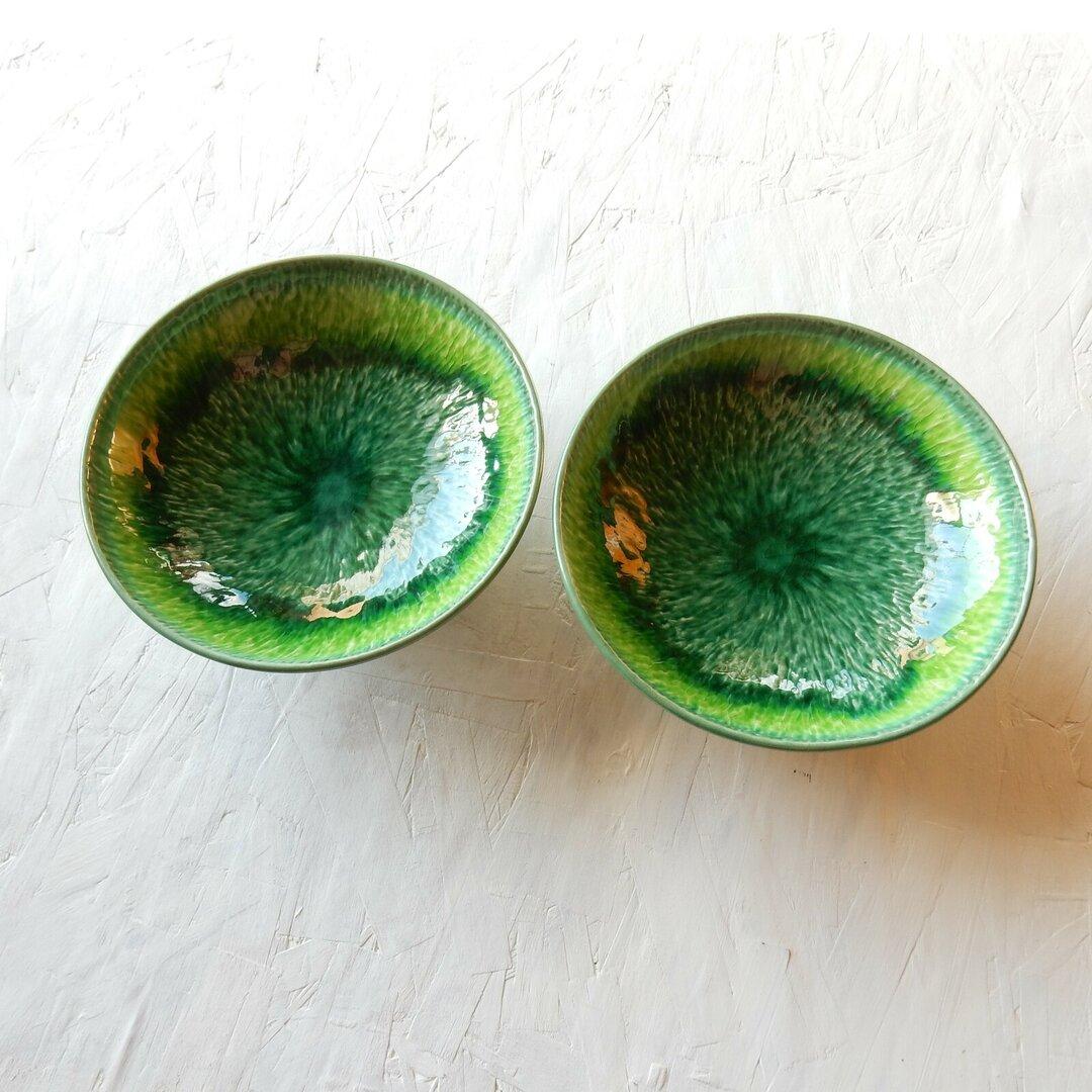 福袋B級品 2枚セット グリーンイエロー流し皿鉢16cm