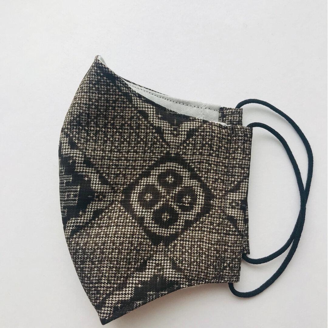 1点物大島紬2wayマスク&カバー大柄幾何学(L)*ハンドメイドマスク&カバー
