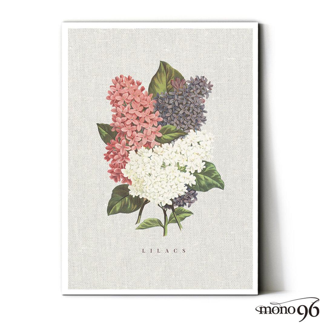 アートポスター ライラック アートでお部屋の模様替えや新築祝いや引越し 結婚のギフトにも。ウォールデコで気分転換。北欧 キャンバス 花 フラワー