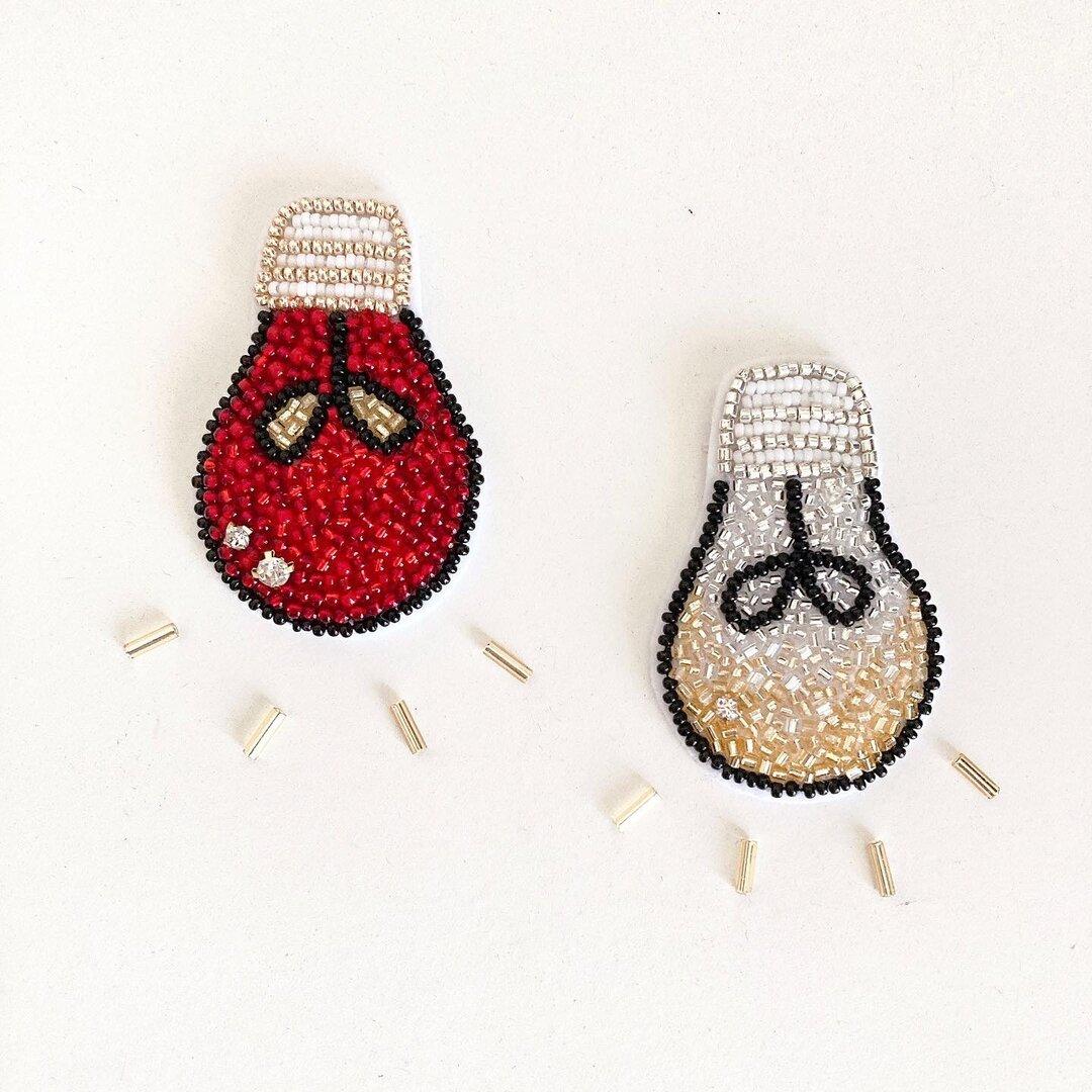 【キット】電球 ビーズ刺繍ブローチ(ゴールド)