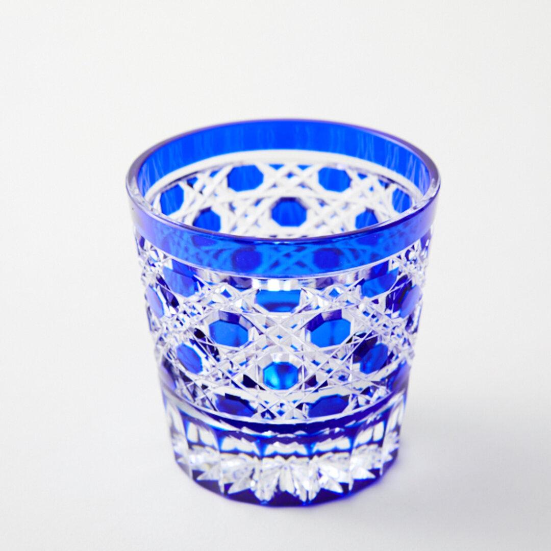 送料無料 江戸切子販売 新品 江戸切子 瑠璃被せ クリスタルミニロックグラス