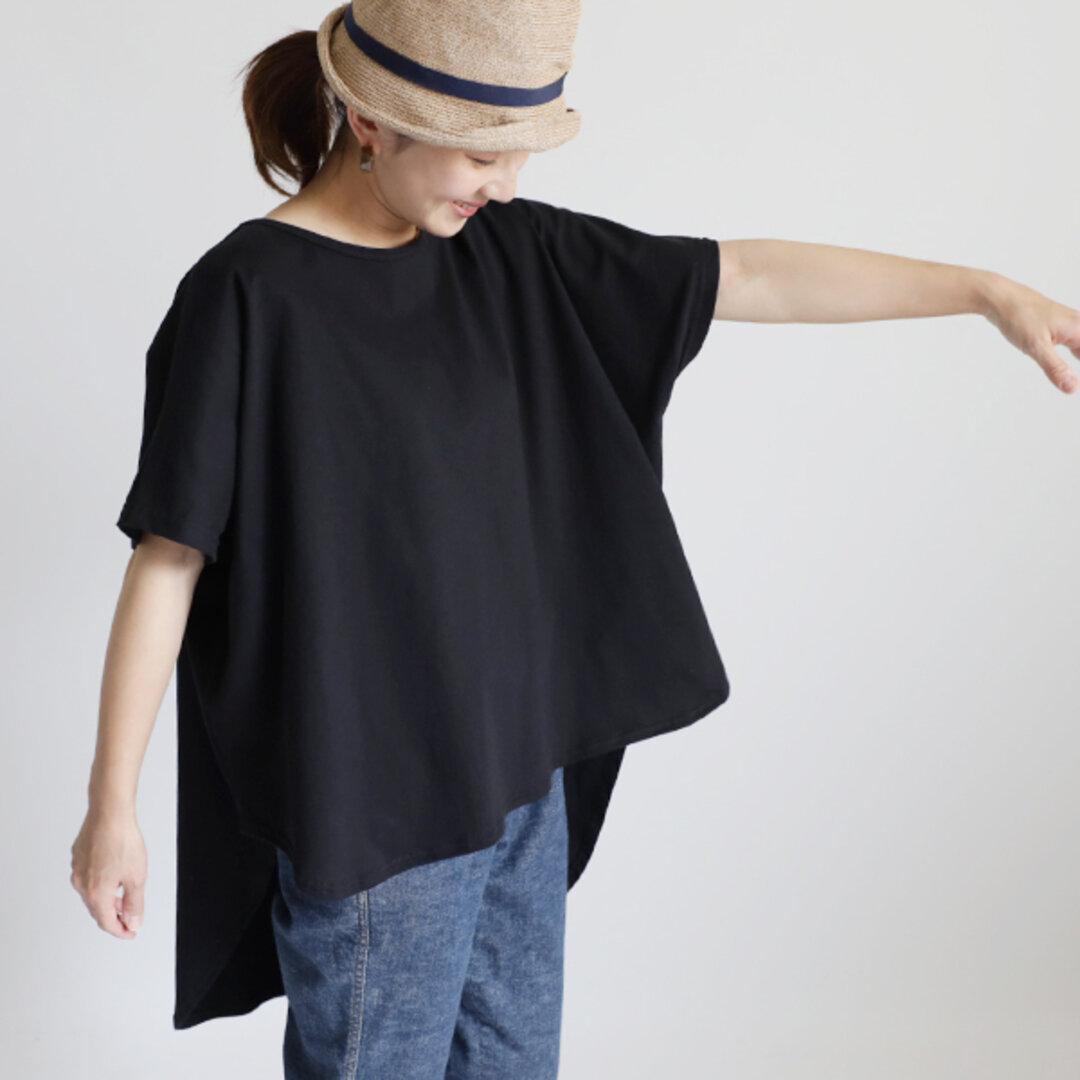 最終SALE『 ラウンドヘム 燕尾裾 オーバーシャツ 』度詰 天竺 コットン100% Tシャツ カットソー ブラック F12B
