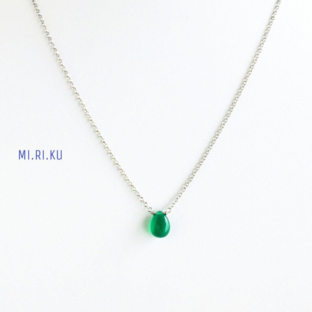 小さな* グリーンオニキスの一粒ネックレス/サージカルステンレス(シルバー)