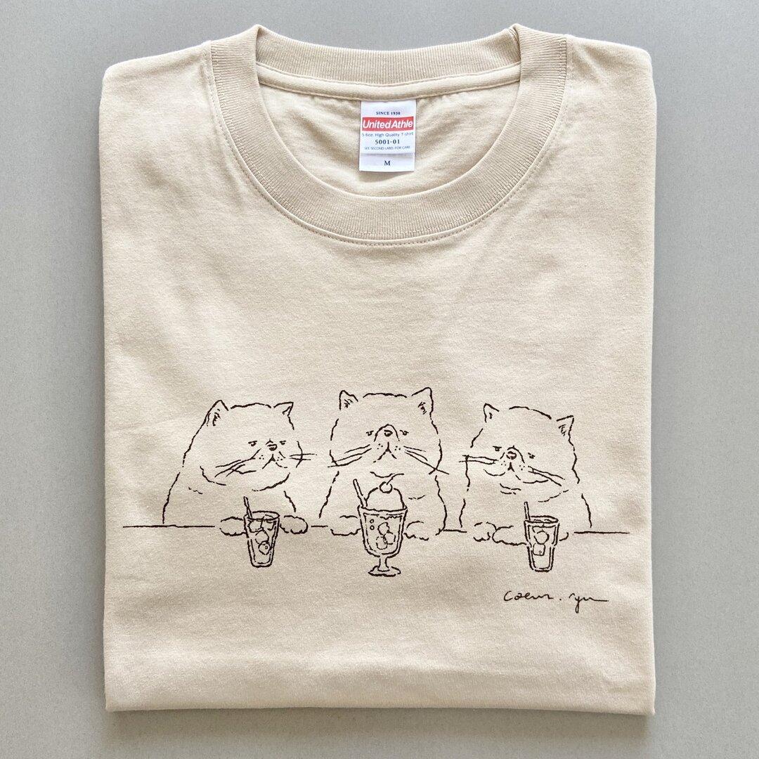「憧れのクリームソーダ」手描きデザイン半袖Tシャツ カラー/ニュアンスベージュ(5.6oz)