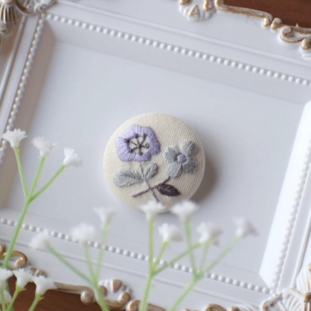【送料無料】くるみボタン ヘアアクセ 刺繍ヘアゴム ボタニカル