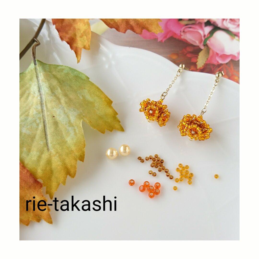 キット🍀ビーズステッチで作る香り立つ金木犀の花房ピアス/イヤリング