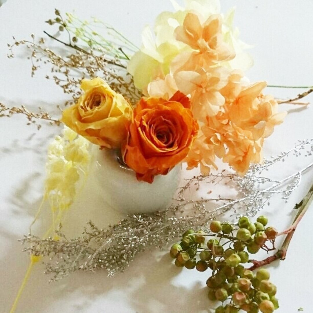 BONITA PLANET♥ハーバリウム自然素材♥橙黄mix10