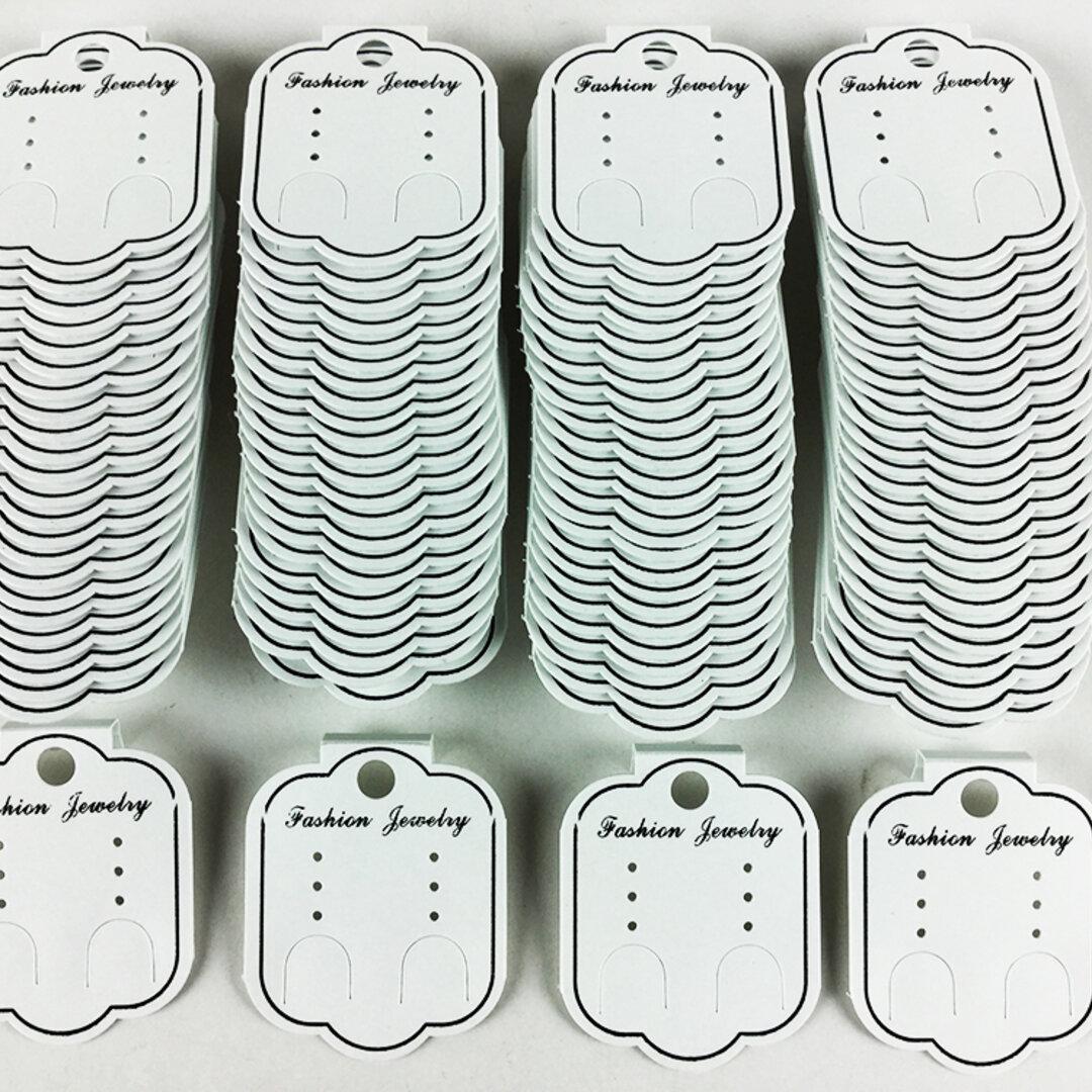 送料無料 ピアス 台紙 ホワイト 100枚 イヤリング 台紙 白 クラフト アクセサリー ハンドメイド 素材 (AP0161)
