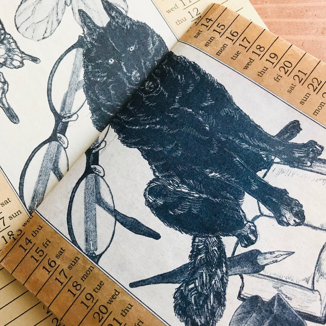 Wolf vintage waxpaper bookcover - September and October '17-