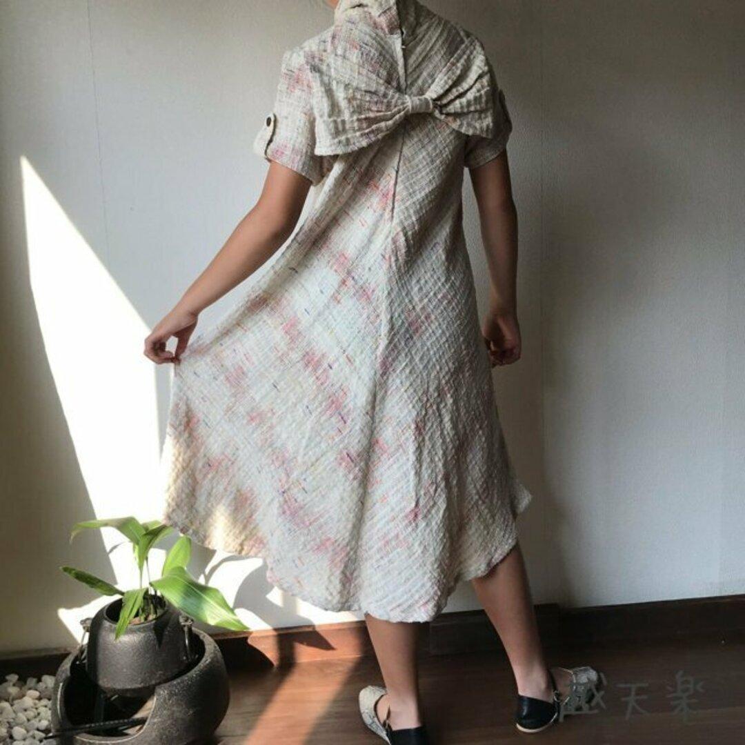 NHK「べっぴんさん」にてももクロ百田さん着用ロングセラー 後ろリボンとバイアス、ハイカラーの手織り綿ワンピース 白絣