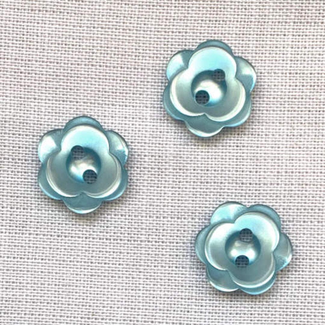 ポリエステル ボタン フラワー ブルー 6個 花 バラ ローズ b-2459