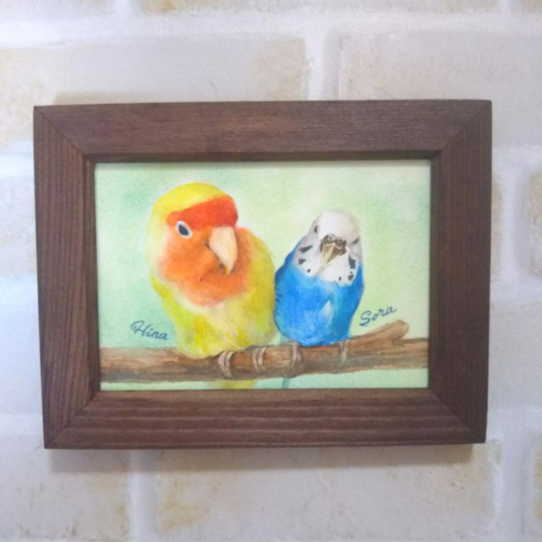 小鳥の似顔絵*水彩画