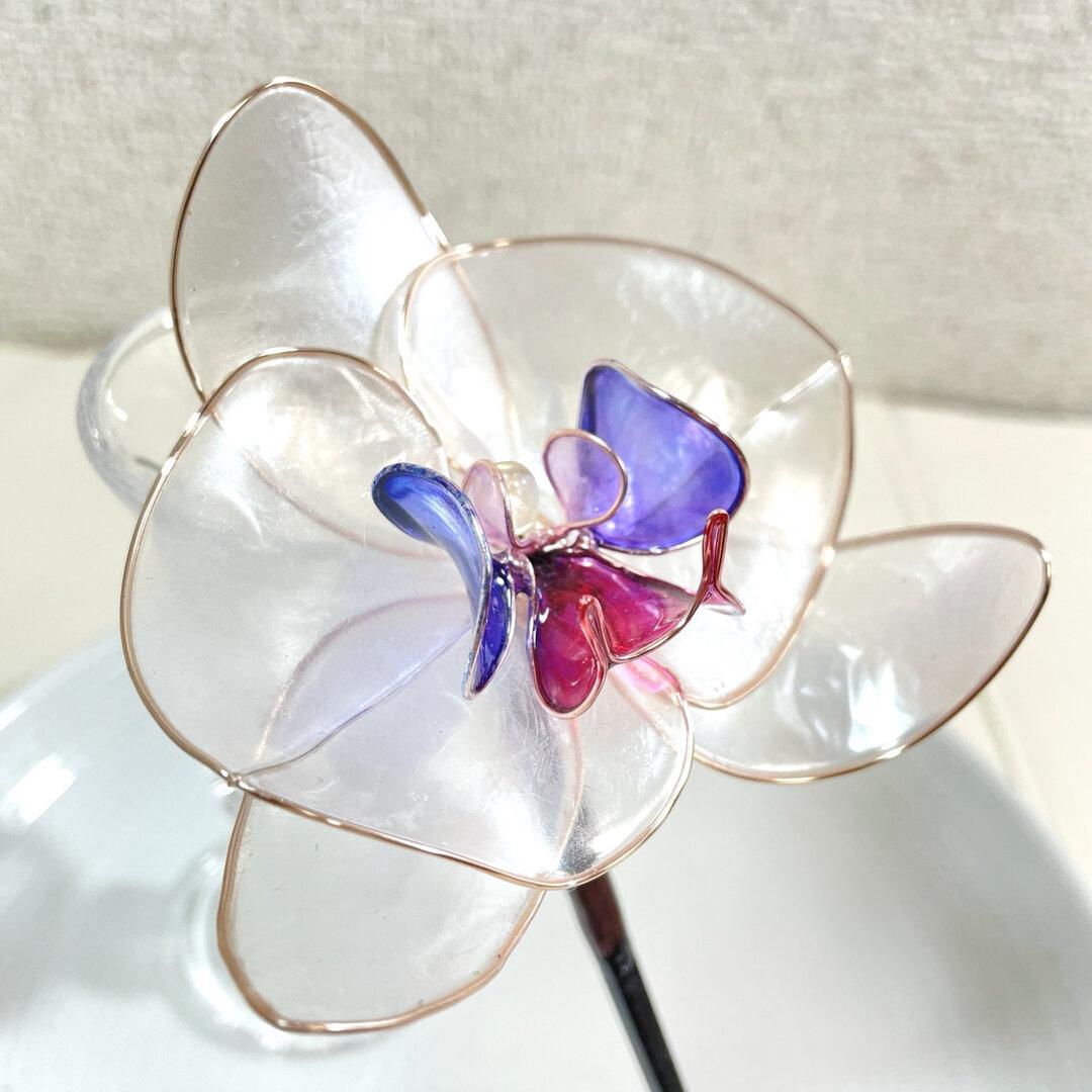 【B級品】胡蝶蘭のかんざし(赤紫と青紫)