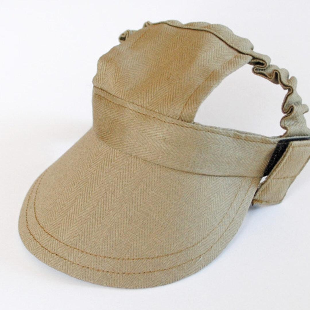 【Mサイズ】犬の帽子*エアータンブラー綿麻ヘリンボーン カーキ(黒ゴム)