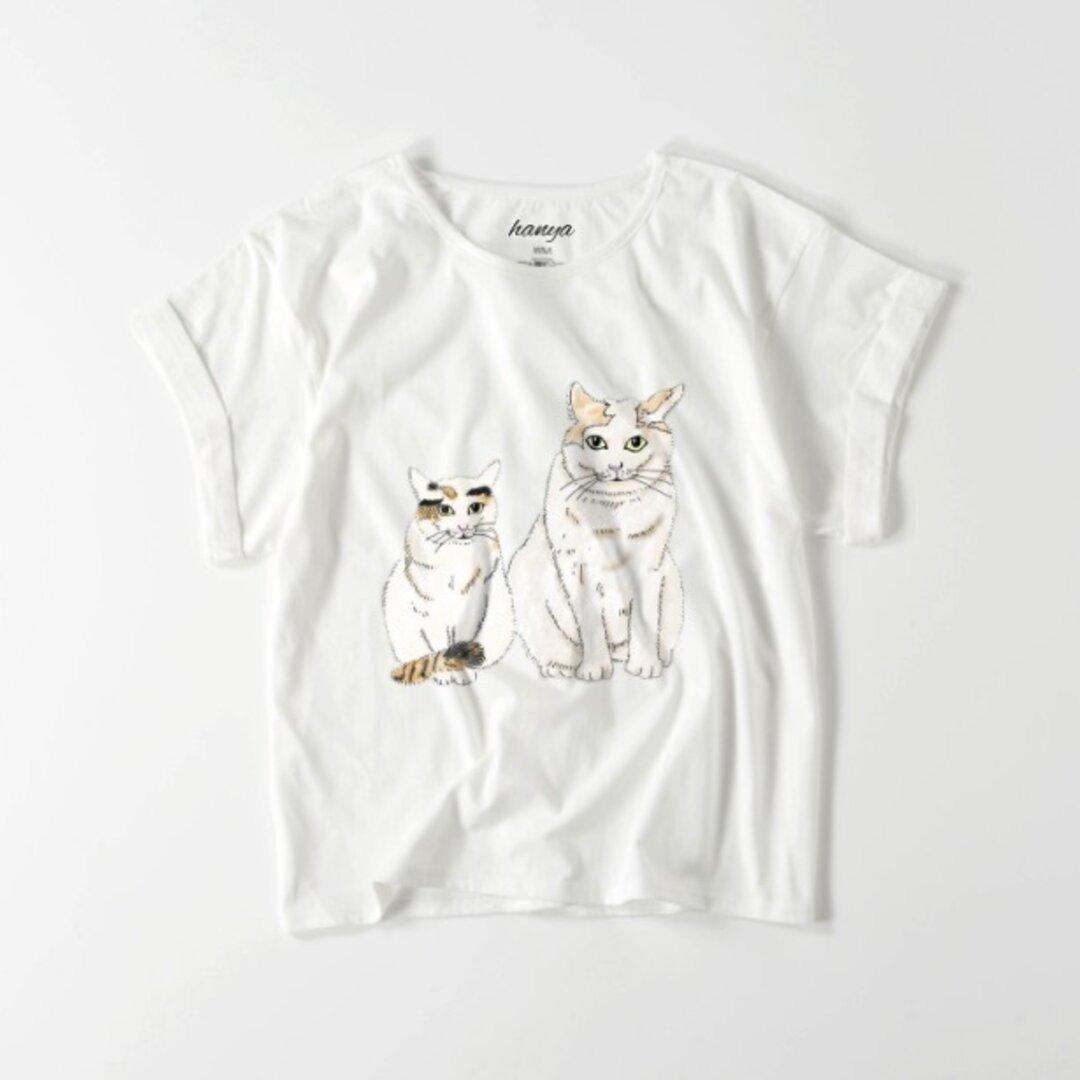 おおきい猫とちいさい猫 猫のカップル オーバーサイズTシャツ イラスト ゆったり ゆるかわ フリーサイズ レディース