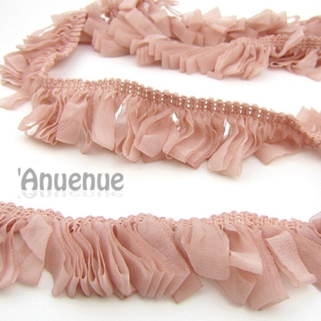 シフォン ループフリンジリボン(Baby Pink / ベビーピンク)×50cm