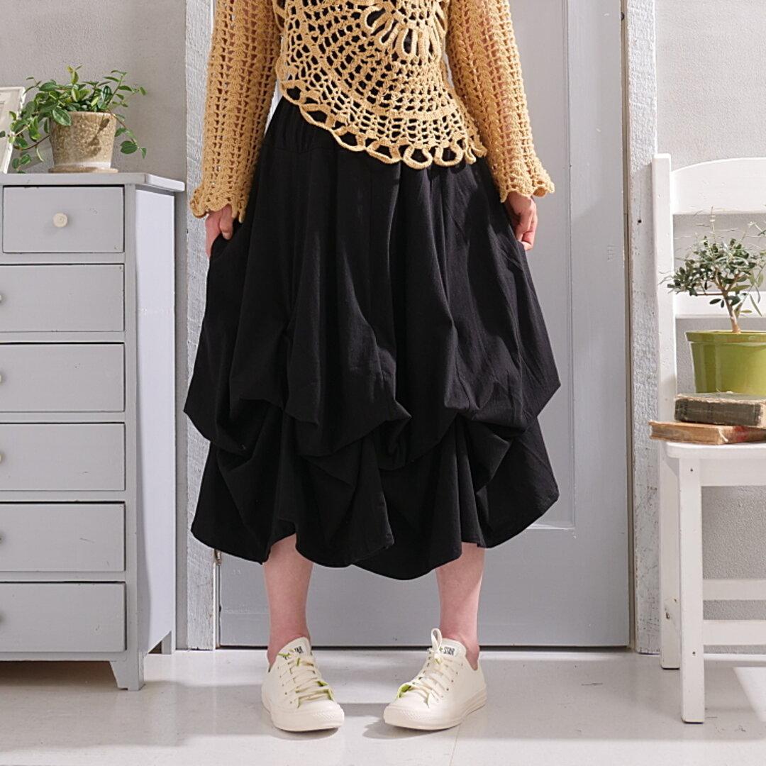 【自由にアレンジスカート*コンフォート~Comfort~】着丈2展開*お好みで自由自在にアレンジ*立体ロングスカート*変形*バルーン*ブラック