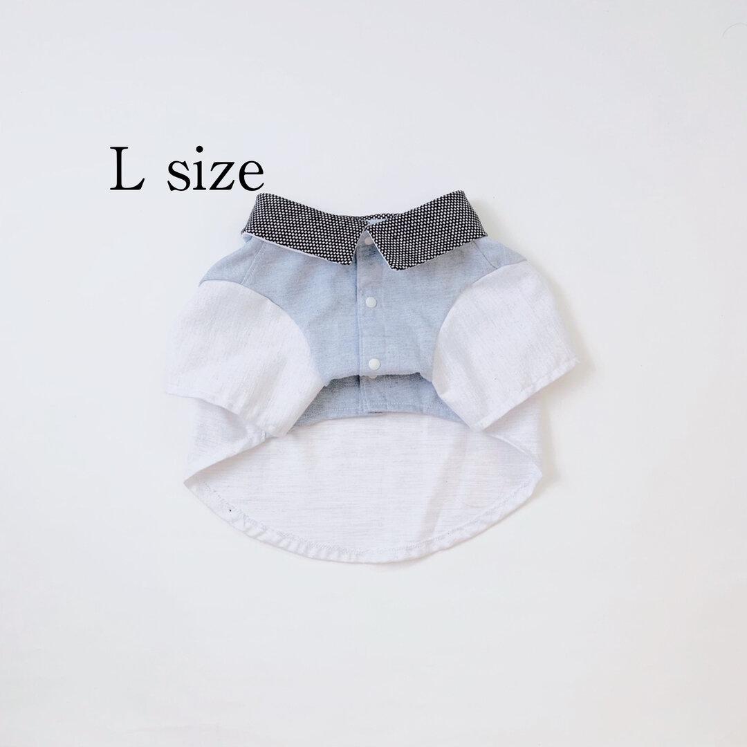【犬服】L カラーミックス シャツ ホワイト ブルー