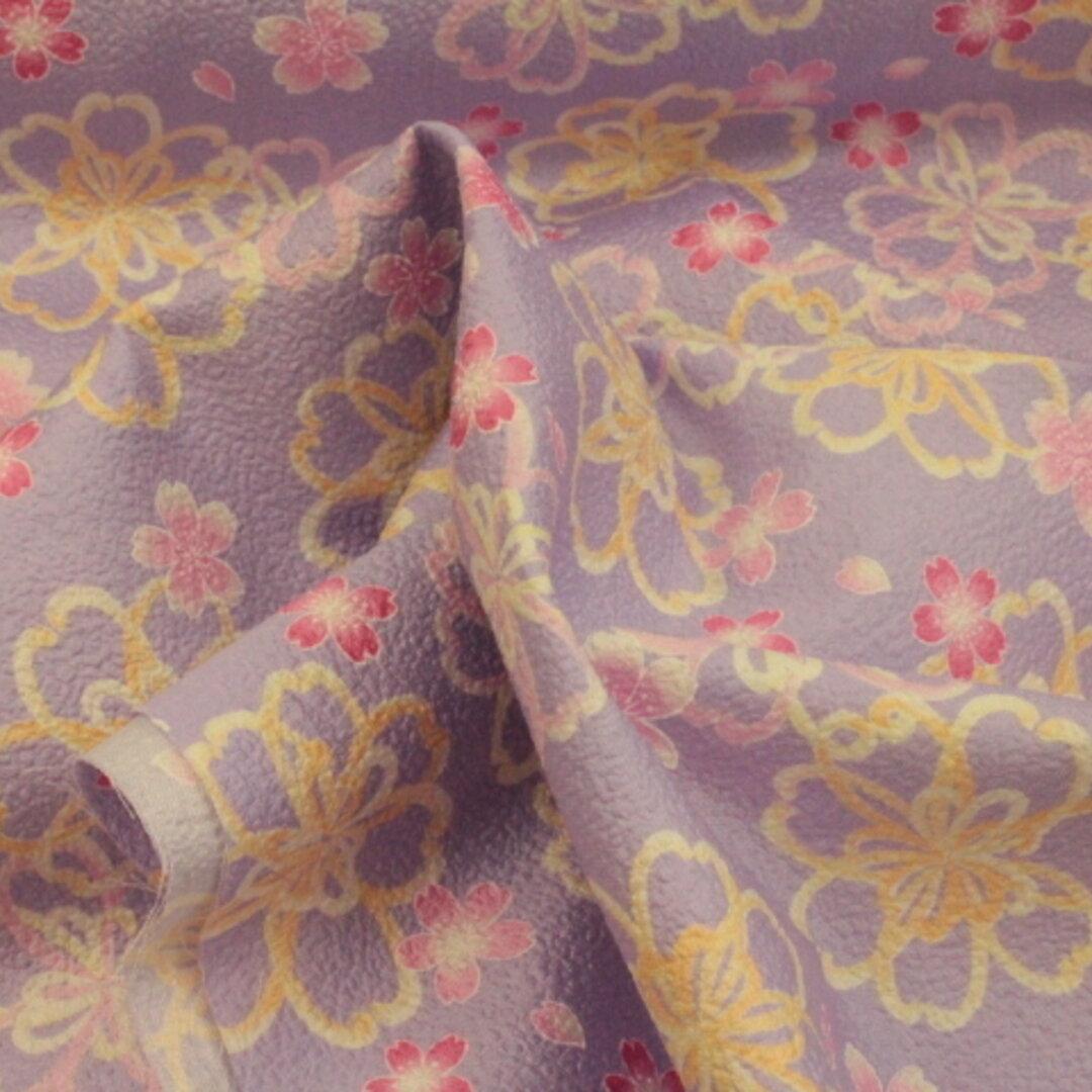 和柄 和調 桜柄   薄い紫色 2C 110㎝幅×50㎝ 型押しエンボス布