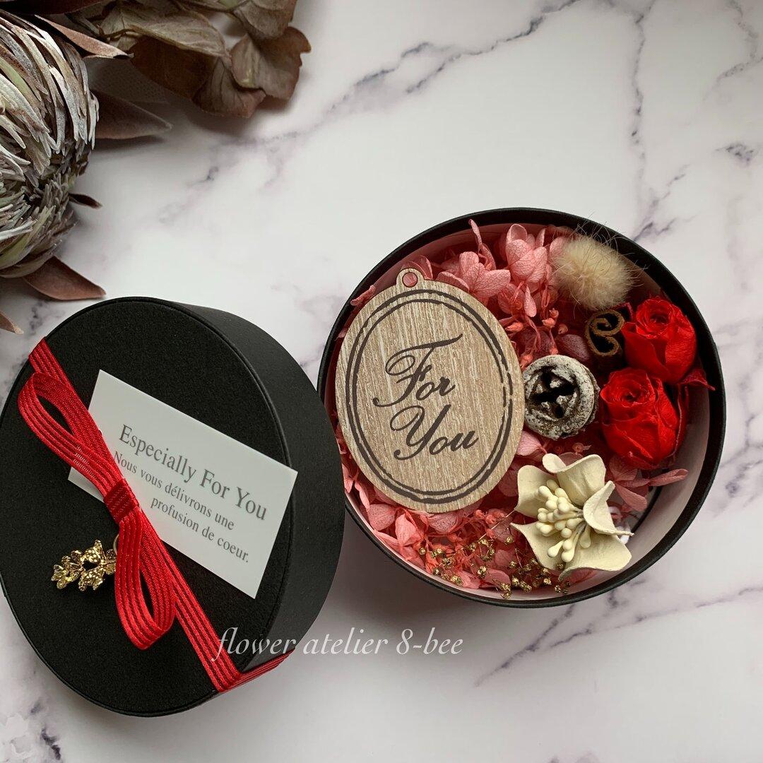 香るミニフラワーBOX(ベージュタグ)