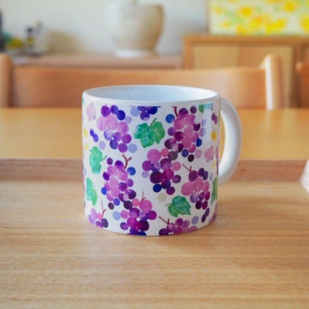 水彩画マグカップ 「葡萄と蝶」