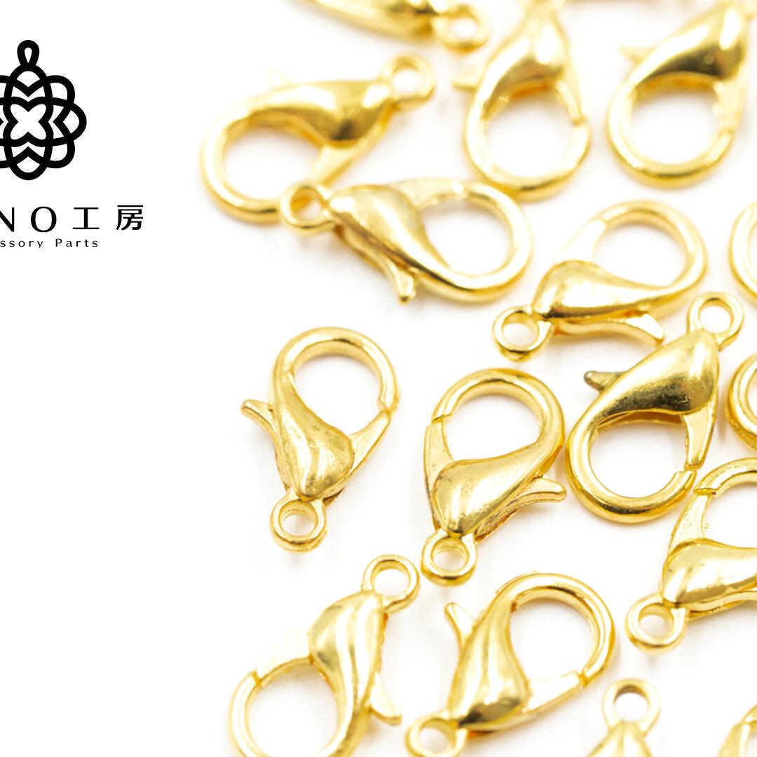 【lc-3】14mm カニカン ゴールド★30個★ 基礎 素材 ピアス アクセサリー パーツ ネックレス