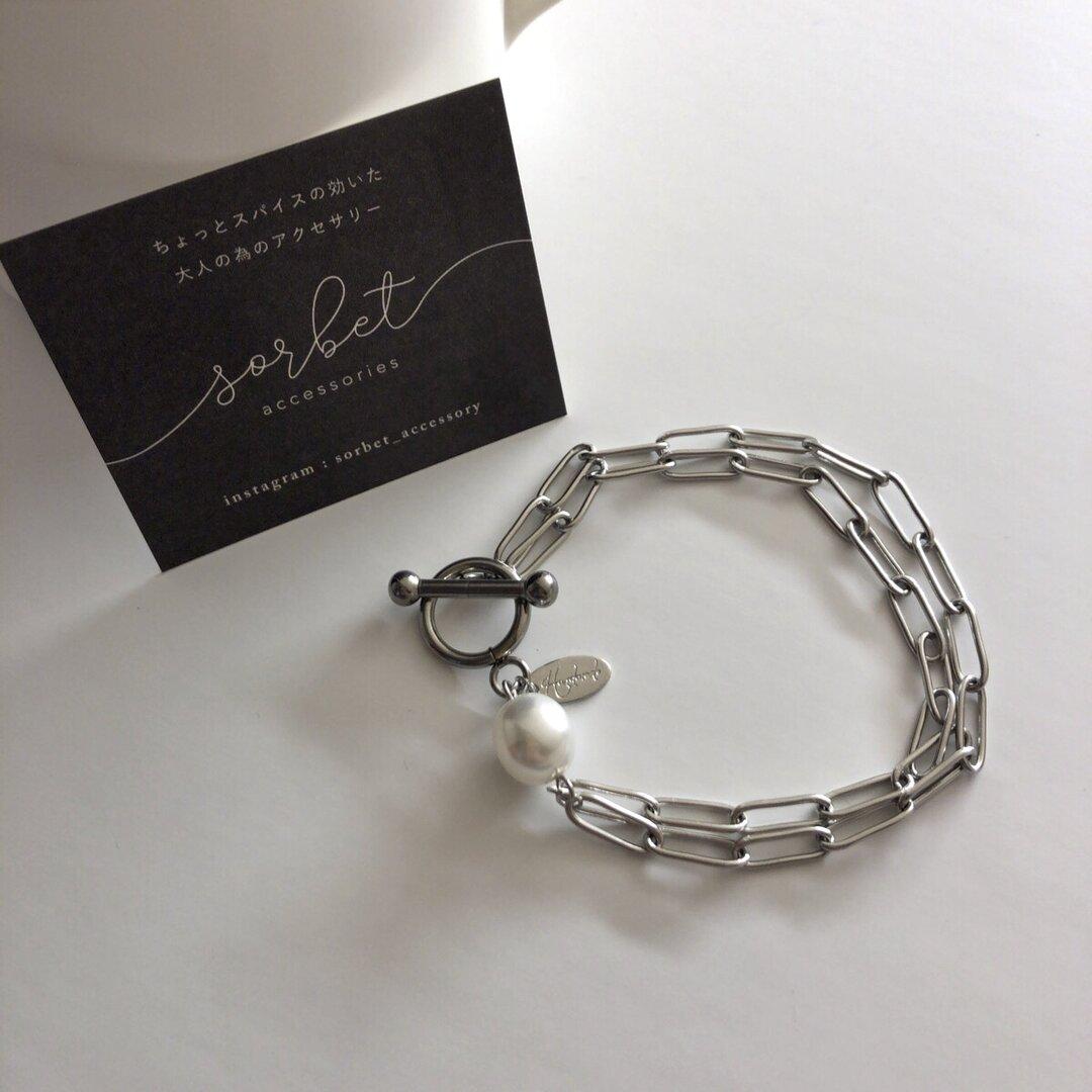 mantel × baroque pearl bracelet ∴ ステンレス