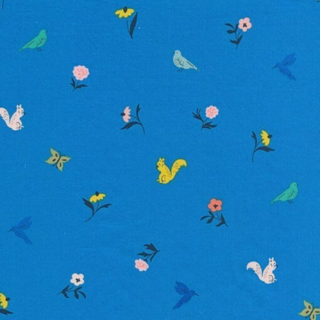 Cloudnine コットンサテンカットクロス WILDFLOWER フロリック ブルー