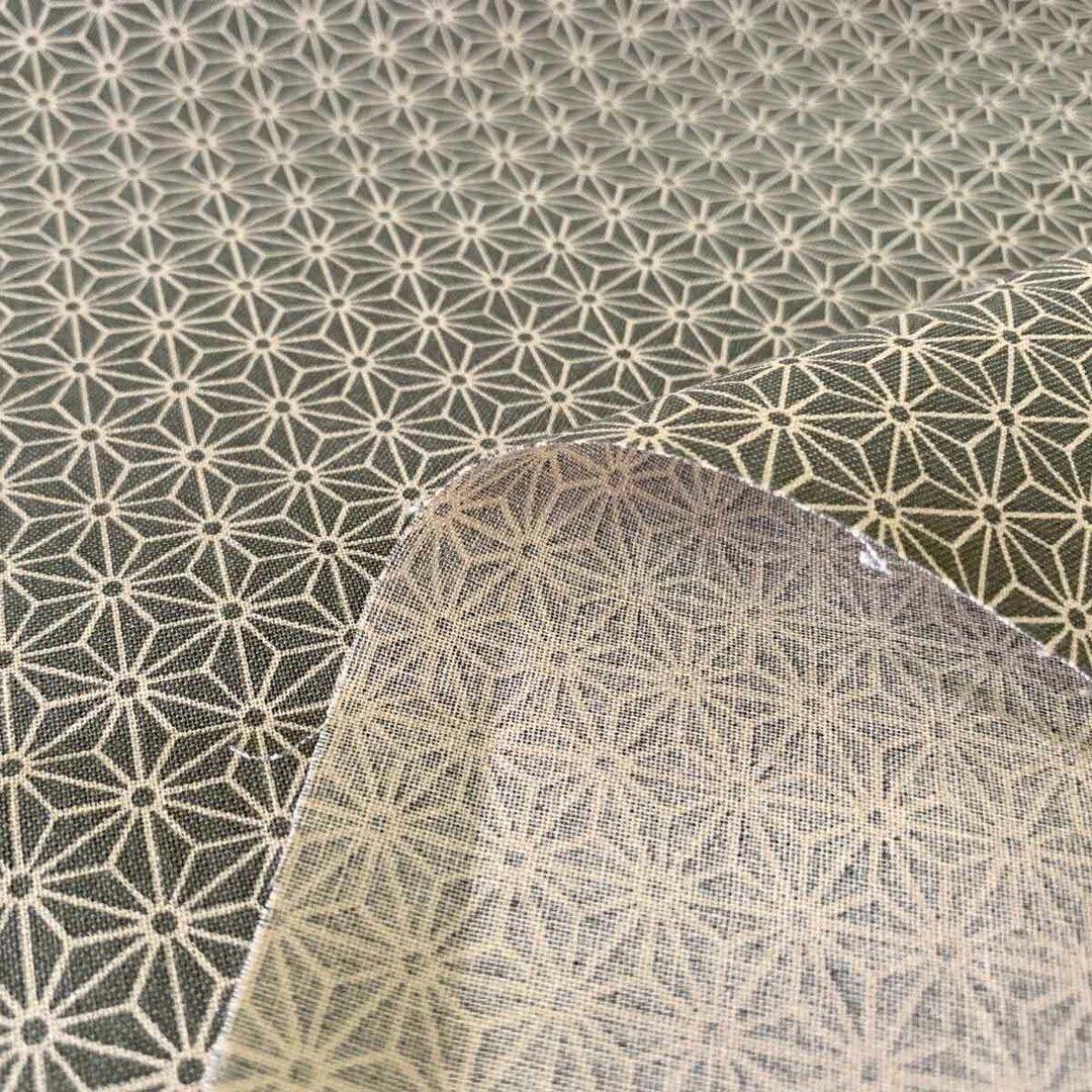 布・生地 シーチング和調 麻の葉プリント ウグイス 108cm幅x1mカットクロス