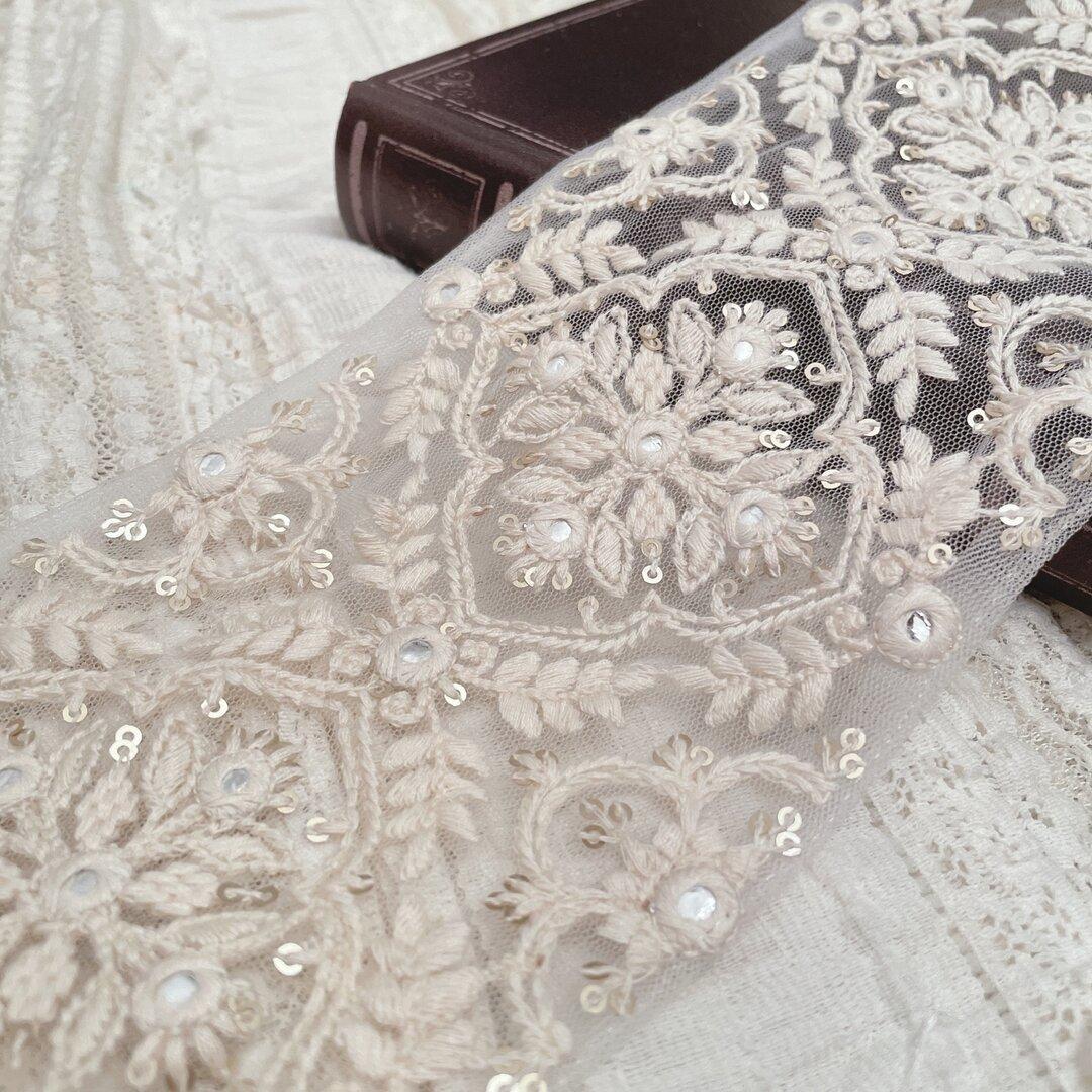 インド刺繍リボン ブルー 刺繍リボン リボン りぼん 素材 インド刺繍
