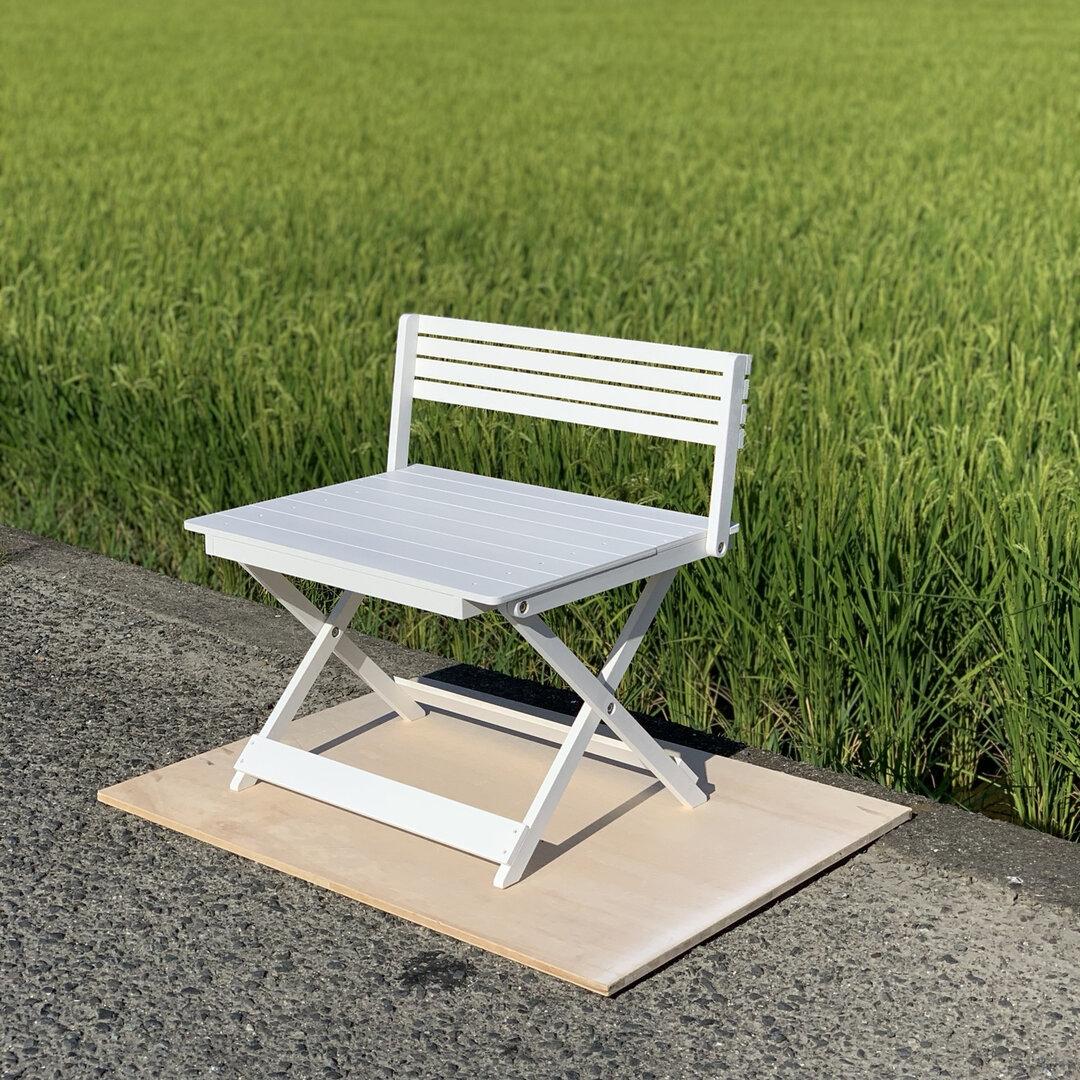 Mサイズデカプーちゃんサイズ受注製作•W48cm×D43cm(白)•わんちゃん撮影会用折り畳みベンチ