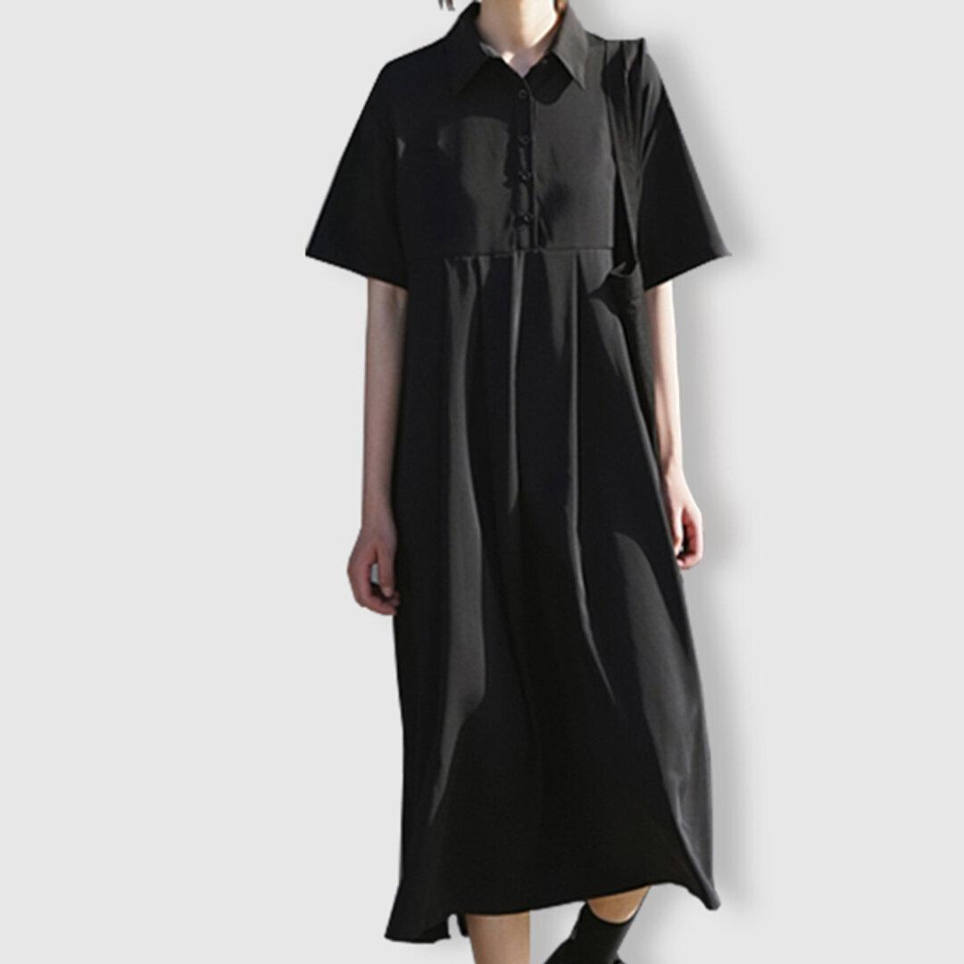 ブラック 半袖 ワンピース レディース 秋 ロング丈 プリーツ おしゃれ 通勤 ゆったり 上品 ナチュラル 体型カバー きれいめ