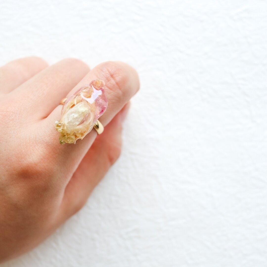 スイートピー ドライフラワー ピンク 花 リング  サイズ調整可能 ゴールド