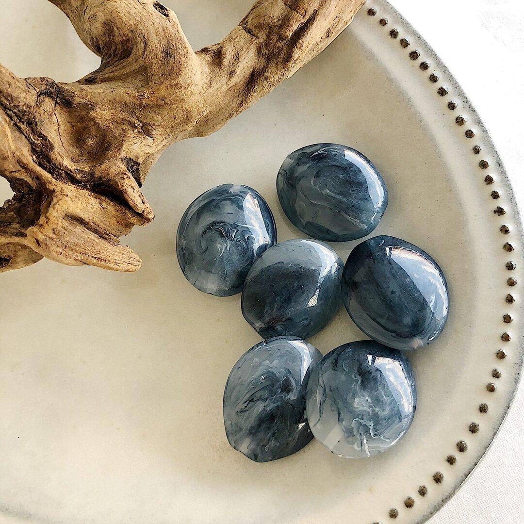6pcs[ブルー] 大ぶり 大理石調ビーズ アクリルビーズ a252