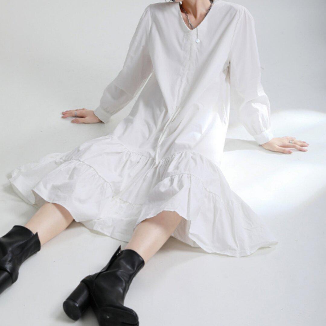 初秋新デザインセンス巾着プリーツ蓮の葉大柄ワンピース長袖ワンピース