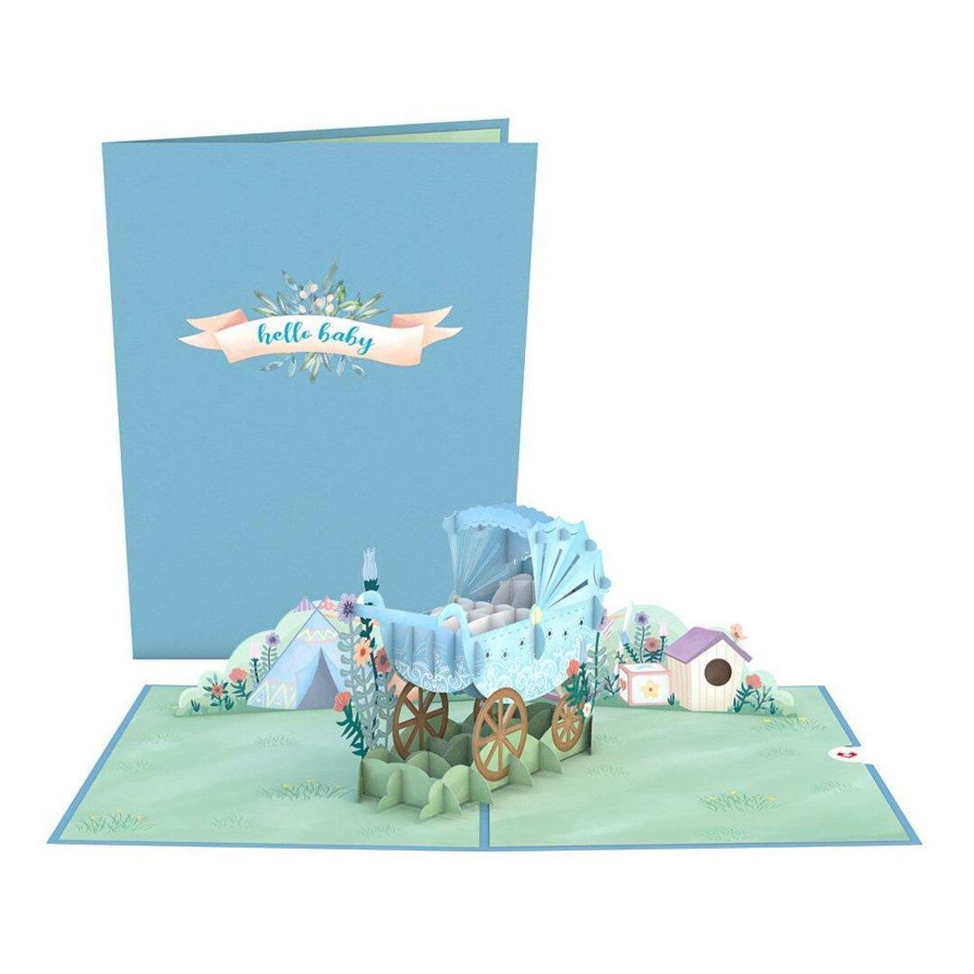 ポップアップグリーティングカード Blue Baby Carriage