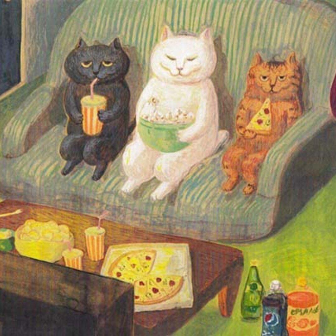 7. カマノレイコ 猫ポストカード2枚組 「愉しみ」