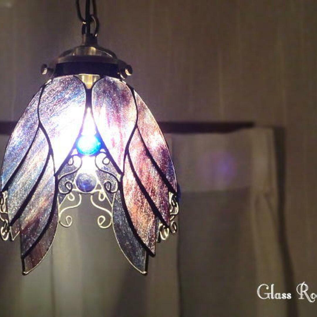 天使の紫のらんぷ  ステンドグラス 照明 ランプ ペンダント 再販