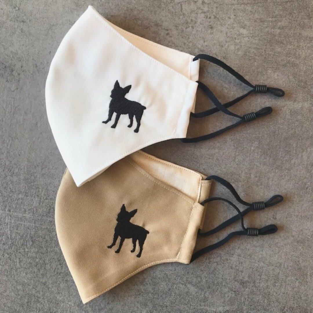 犬シルエット刺繍マスク * ボストンテリア/抗菌・抗ウイルスマスク/立体マスク/大人用Mサイズ/犬マスク/受注制作