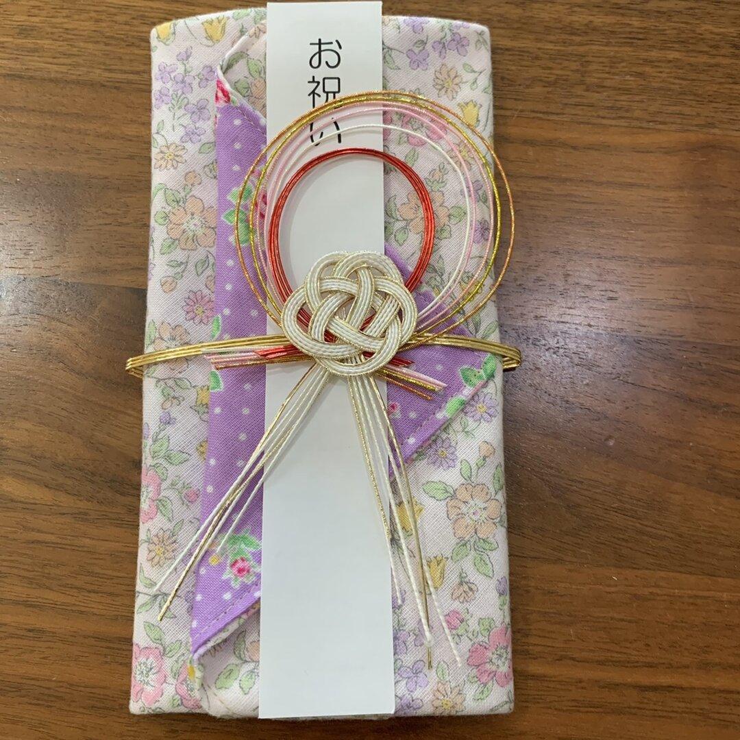 [やわらか花柄] 御祝儀袋&ガーゼハンカチ